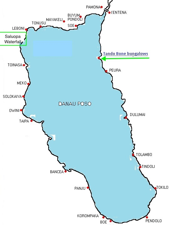 A map of Lake Pose - Central Sulawesi